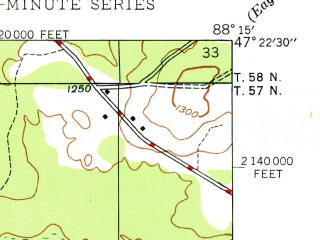 Reduced fragment of topographic map en--usgs--024k--029757--(1948)--N047-22-30_W088-22-30--N047-15-00_W088-15-00