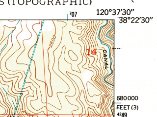 Reduced fragment of topographic map en--usgs--024k--029779--(1948)--N038-22-30_W120-45-00--N038-15-00_W120-37-30
