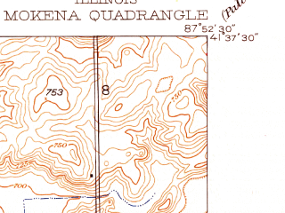 Reduced fragment of topographic map en--usgs--024k--029781--(1929)--N041-37-30_W088-00-00--N041-30-00_W087-52-30; towns and cities Goodings Grove, Mokena, New Lenox