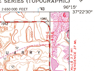 Reduced fragment of topographic map en--usgs--024k--029789--(1962)--N037-22-30_W096-22-30--N037-15-00_W096-15-00; towns and cities Moline