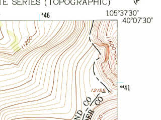 Reduced fragment of topographic map en--usgs--024k--029813--(1958)--N040-07-30_W105-45-00--N040-00-00_W105-37-30