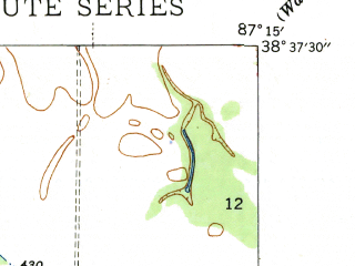 Reduced fragment of topographic map en--usgs--024k--029878--(1944)--N038-37-30_W087-22-30--N038-30-00_W087-15-00; towns and cities Monroe City