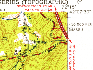 Reduced fragment of topographic map en--usgs--024k--029892--(1953)--N042-07-30_W072-22-30--N042-00-00_W072-15-00; towns and cities Monson Center
