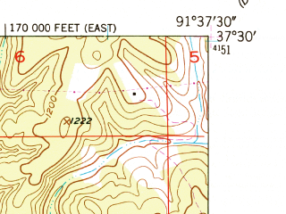 Reduced fragment of topographic map en--usgs--024k--029905--(1951)--N037-30-00_W091-45-00--N037-22-30_W091-37-30