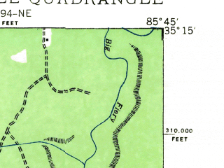 Reduced fragment of topographic map en--usgs--024k--029914--(1936)--N035-15-00_W085-52-30--N035-07-30_W085-45-00; towns and cities Monteagle