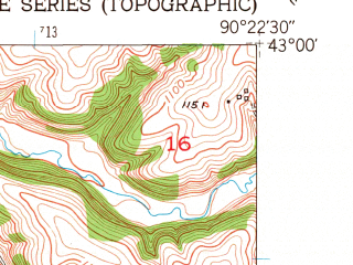 Reduced fragment of topographic map en--usgs--024k--029955--(1952)--N043-00-00_W090-30-00--N042-52-30_W090-22-30; towns and cities Livingston, Montfort