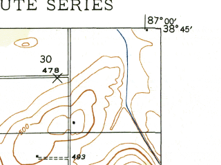 Reduced fragment of topographic map en--usgs--024k--029961--(1944)--N038-45-00_W087-07-30--N038-37-30_W087-00-00; towns and cities Montgomery