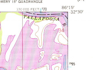 Reduced fragment of topographic map en--usgs--024k--029964--(1958)--N032-30-00_W086-22-30--N032-22-30_W086-15-00; towns and cities Coosada, Millbrook