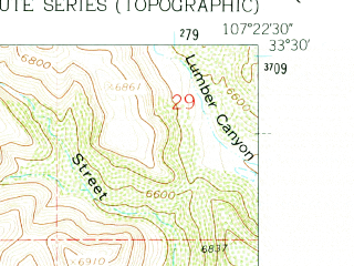 Reduced fragment of topographic map en--usgs--024k--029970--(1961)--N033-30-00_W107-30-00--N033-22-30_W107-22-30
