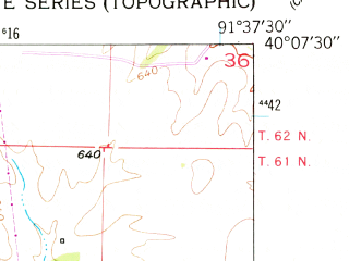 Reduced fragment of topographic map en--usgs--024k--029972--(1950)--N040-07-30_W091-45-00--N040-00-00_W091-37-30; towns and cities Ewing, Monticello
