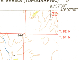 Reduced fragment of topographic map en--usgs--024k--029972--(1951)--N040-07-30_W091-45-00--N040-00-00_W091-37-30; towns and cities Ewing, Monticello