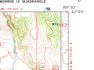 Reduced fragment of topographic map en--usgs--024k--029975--(1962)--N042-45-00_W089-37-30--N042-37-30_W089-30-00; towns and cities Monticello