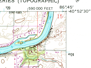 Reduced fragment of topographic map en--usgs--024k--029985--(1962)--N040-52-30_W086-52-30--N040-45-00_W086-45-00