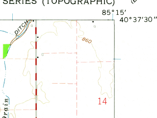 Reduced fragment of topographic map en--usgs--024k--030003--(1962)--N040-37-30_W085-22-30--N040-30-00_W085-15-00; towns and cities Montpelier