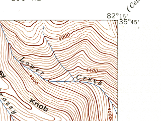 Reduced fragment of topographic map en--usgs--024k--030012--(1943)--N035-45-00_W082-22-30--N035-37-30_W082-15-00; towns and cities Montreat