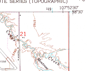 Reduced fragment of topographic map en--usgs--024k--030024--(1962)--N038-30-00_W108-00-00--N038-22-30_W107-52-30