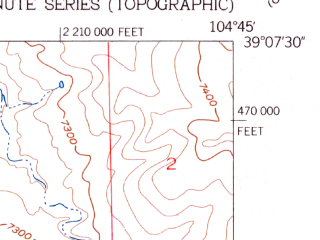 Reduced fragment of topographic map en--usgs--024k--030028--(1954)--N039-07-30_W104-52-30--N039-00-00_W104-45-00; towns and cities Gleneagle, Monument, Woodmoor