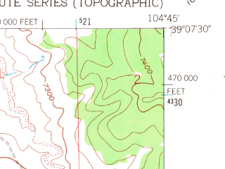 Reduced fragment of topographic map en--usgs--024k--030028--(1961)--N039-07-30_W104-52-30--N039-00-00_W104-45-00; towns and cities Gleneagle, Monument, Woodmoor