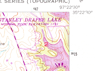 Reduced fragment of topographic map en--usgs--024k--030098--(1956)--N035-22-30_W097-30-00--N035-15-00_W097-22-30; towns and cities Moore