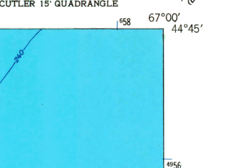Reduced fragment of topographic map en--usgs--024k--030157--(1949)--N044-45-00_W067-07-30--N044-37-30_W067-00-00 in area of Moose Cove