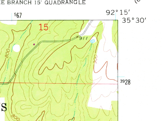 Reduced fragment of topographic map en--usgs--024k--030228--(1961)--N035-30-00_W092-22-30--N035-22-30_W092-15-00