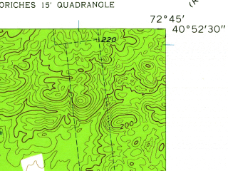 Reduced fragment of topographic map en--usgs--024k--030243--(1957)--N040-52-30_W072-52-30--N040-45-00_W072-45-00; towns and cities Shirley, Mastic, Mastic Beach, Center Moriches, Manorville