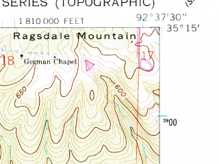 Reduced fragment of topographic map en--usgs--024k--030277--(1961)--N035-15-00_W092-45-00--N035-07-30_W092-37-30; towns and cities Morrilton, Plumerville