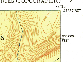 Reduced fragment of topographic map en--usgs--024k--030280--(1950)--N041-37-30_W077-22-30--N041-30-00_W077-15-00