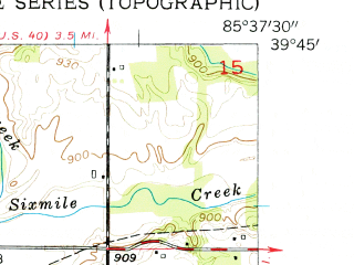 Reduced fragment of topographic map en--usgs--024k--030304--(1956)--N039-45-00_W085-45-00--N039-37-30_W085-37-30; towns and cities Morristown