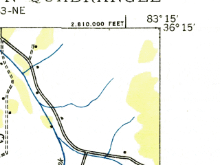 Reduced fragment of topographic map en--usgs--024k--030305--(1935)--N036-15-00_W083-22-30--N036-07-30_W083-15-00; towns and cities Morristown