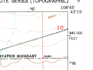 Reduced fragment of topographic map en--usgs--024k--030325--(1959)--N043-15-00_W108-52-30--N043-07-30_W108-45-00 in area of Pilot Butte Reservoir