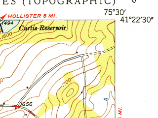 Reduced fragment of topographic map en--usgs--024k--030346--(1949)--N041-22-30_W075-37-30--N041-15-00_W075-30-00; towns and cities Moscow