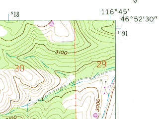 Reduced fragment of topographic map en--usgs--024k--030351--(1960)--N046-52-30_W116-52-30--N046-45-00_W116-45-00
