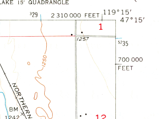 Reduced fragment of topographic map en--usgs--024k--030361--(1956)--N047-15-00_W119-22-30--N047-07-30_W119-15-00; towns and cities Cascade Valley, Moses Lake North