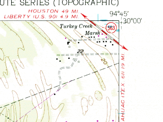 Reduced fragment of topographic map en--usgs--024k--030391--(1961)--N030-00-00_W094-52-30--N029-52-30_W094-45-00; towns and cities Old River-winfree