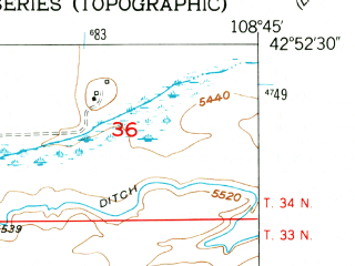 Reduced fragment of topographic map en--usgs--024k--030469--(1953)--N042-52-30_W108-52-30--N042-45-00_W108-45-00