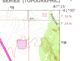 Reduced fragment of topographic map en--usgs--024k--030475--(1961)--N041-00-00_W087-22-30--N040-52-30_W087-15-00; towns and cities Mount Ayr