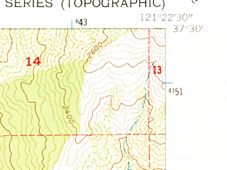 Reduced fragment of topographic map en--usgs--024k--030498--(1955)--N037-30-00_W121-30-00--N037-22-30_W121-22-30