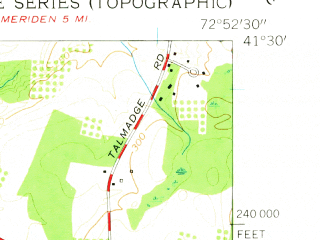 Reduced fragment of topographic map en--usgs--024k--030514--(1954)--N041-30-00_W073-00-00--N041-22-30_W072-52-30