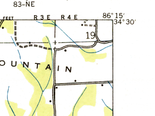 Reduced fragment of topographic map en--usgs--024k--030517--(1936)--N034-30-00_W086-22-30--N034-22-30_W086-15-00