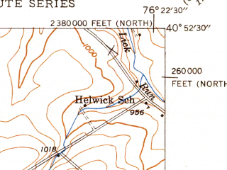 Reduced fragment of topographic map en--usgs--024k--030520--(1947)--N040-52-30_W076-30-00--N040-45-00_W076-22-30; towns and cities Mount Carmel, Kulpmont, Marion Heights