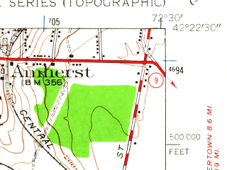 Reduced fragment of topographic map en--usgs--024k--030636--(1947)--N042-22-30_W072-37-30--N042-15-00_W072-30-00; towns and cities South Amherst, Granby, Hatfield