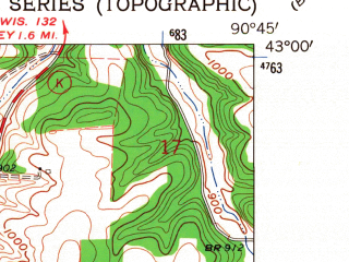 Reduced fragment of topographic map en--usgs--024k--030639--(1962)--N043-00-00_W090-52-30--N042-52-30_W090-45-00; towns and cities Mount Hope