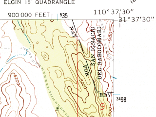 Reduced fragment of topographic map en--usgs--024k--030648--(1958)--N031-37-30_W110-45-00--N031-30-00_W110-37-30; towns and cities Patagonia