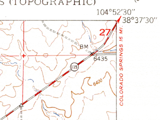 Reduced fragment of topographic map en--usgs--024k--030758--(1948)--N038-37-30_W105-00-00--N038-30-00_W104-52-30