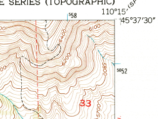Reduced fragment of topographic map en--usgs--024k--030777--(1951)--N045-37-30_W110-22-30--N045-30-00_W110-15-00