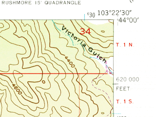 Reduced fragment of topographic map en--usgs--024k--030791--(1954)--N044-00-00_W103-30-00--N043-52-30_W103-22-30; towns and cities Keystone