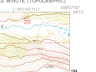 Reduced fragment of topographic map en--usgs--024k--030803--(1961)--N039-15-00_W106-15-00--N039-07-30_W106-07-30