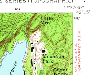 Reduced fragment of topographic map en--usgs--024k--030849--(1958)--N042-15-00_W072-45-00--N042-07-30_W072-37-30; towns and cities Holyoke