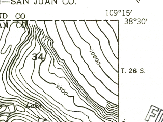 Reduced fragment of topographic map en--usgs--024k--030861--(1954)--N038-30-00_W109-22-30--N038-22-30_W109-15-00